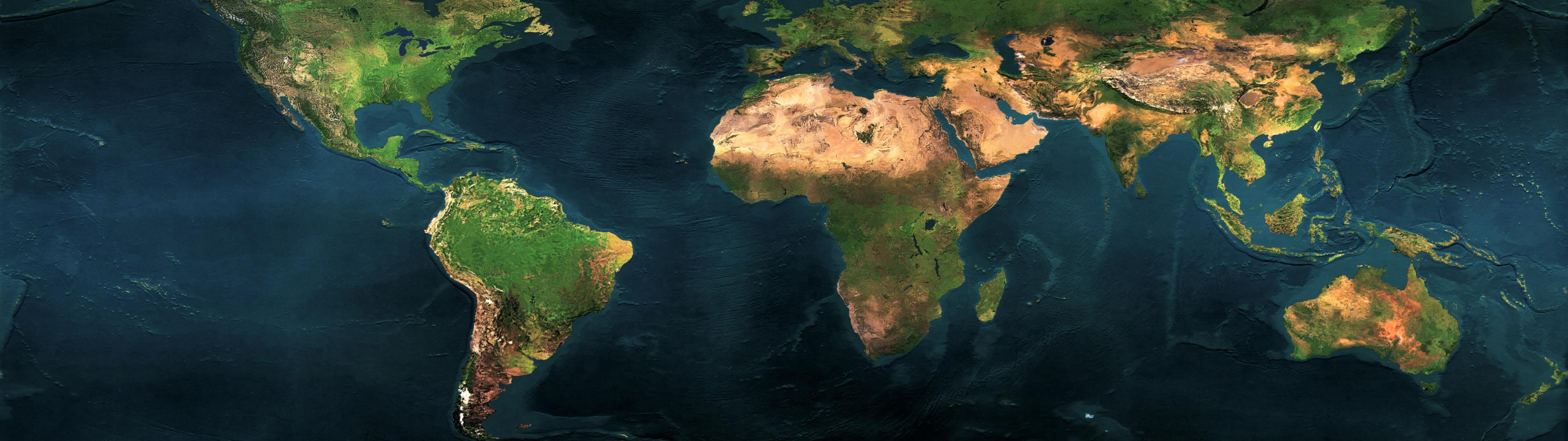 World Map Dual Screen Wallpaper | 3840x1080 | ID:45882