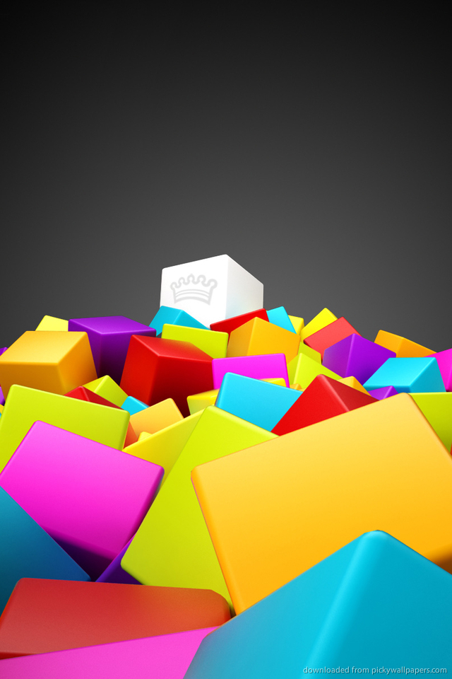 Download Cool 3D Colorful Cubes Wallpaper For iPhone 4