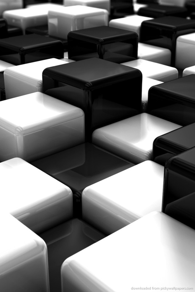 Download Black And White 3D Cubes Wallpaper For iPhone 4