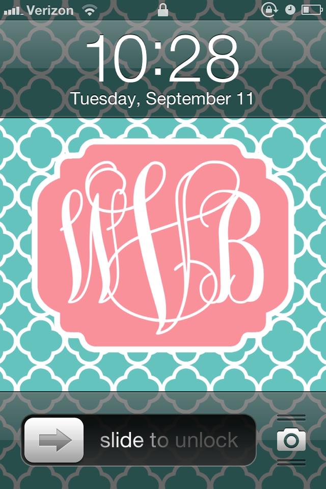 DIY Monogram iPhone Wallpaper   Whitney Blake