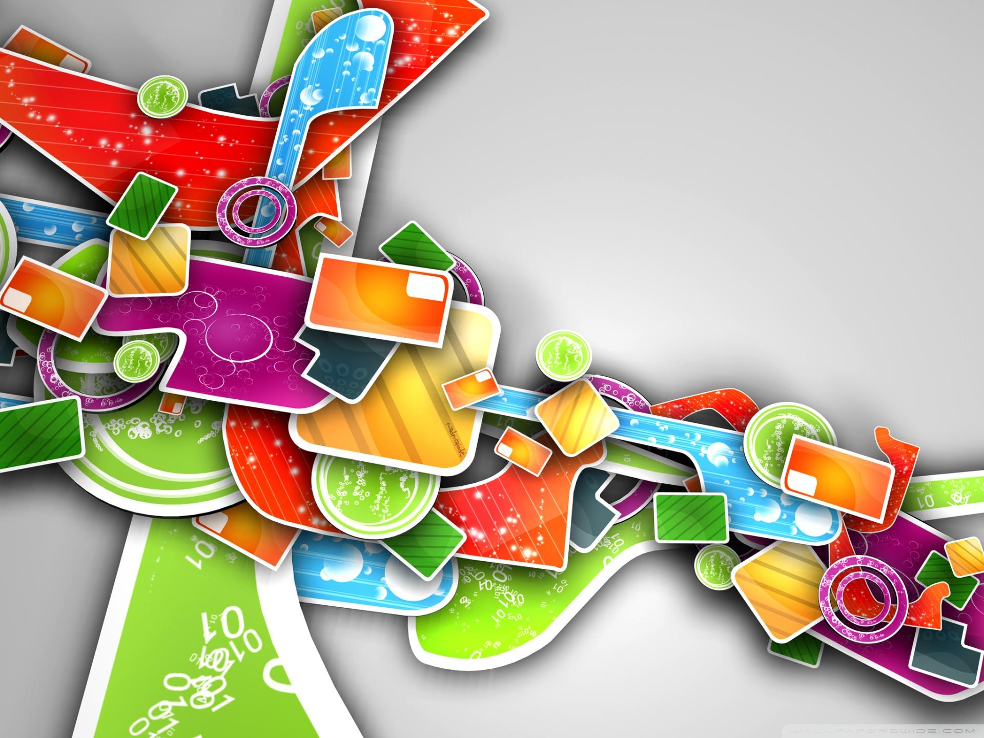 Colorful Abstract 3D Art HD desktop wallpaper : Widescreen : High