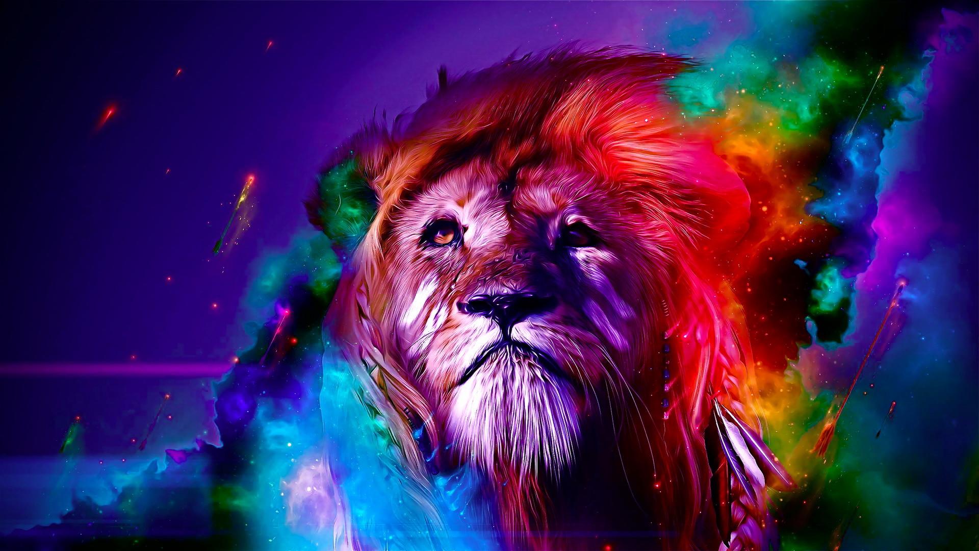 Colorful Lion Wallpaper – Free wallpaper download
