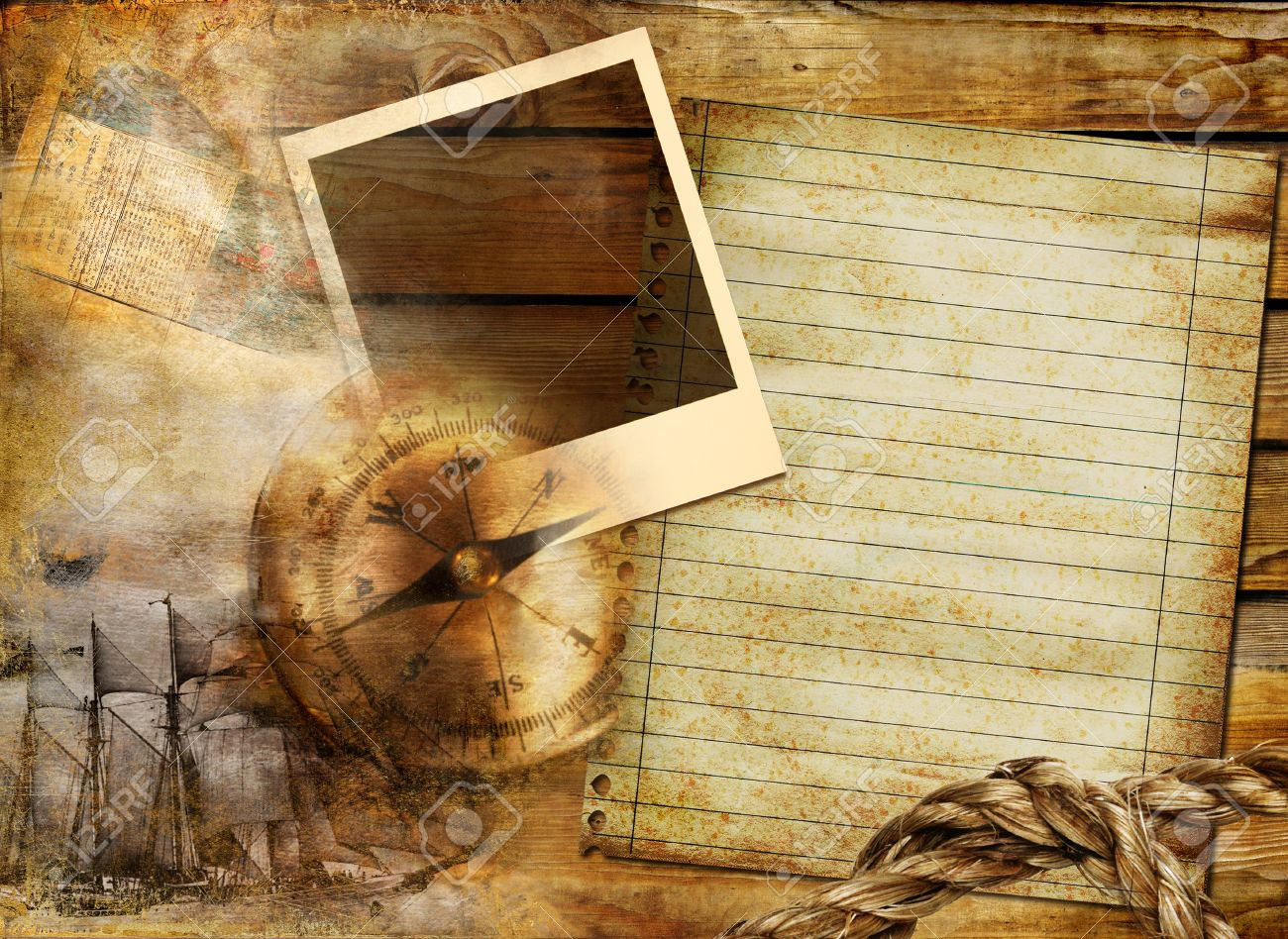 Vintage Background In Adventure Stories Style With Frame And