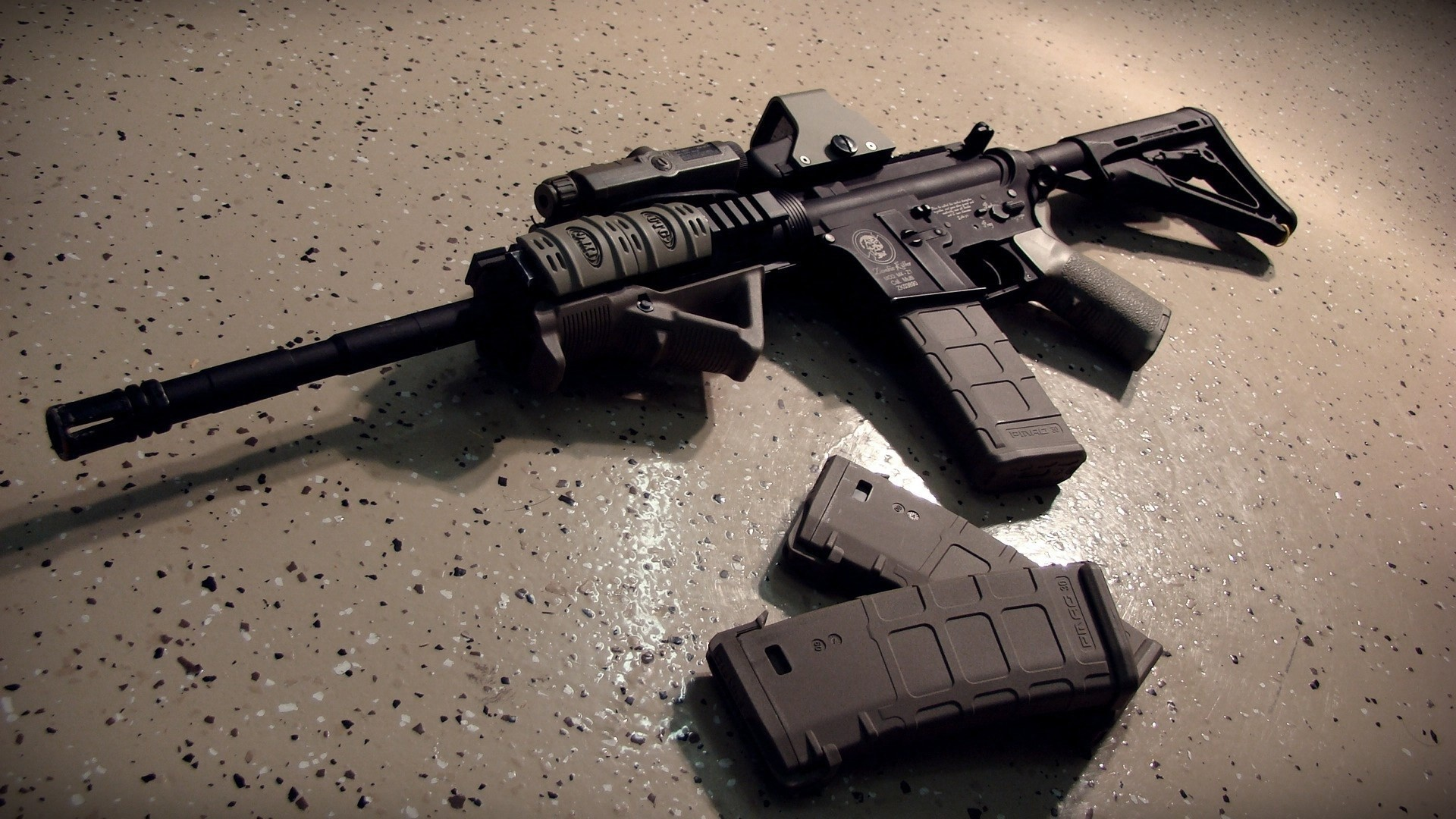 AK 47 Black Gun And Magazine HD Image Background