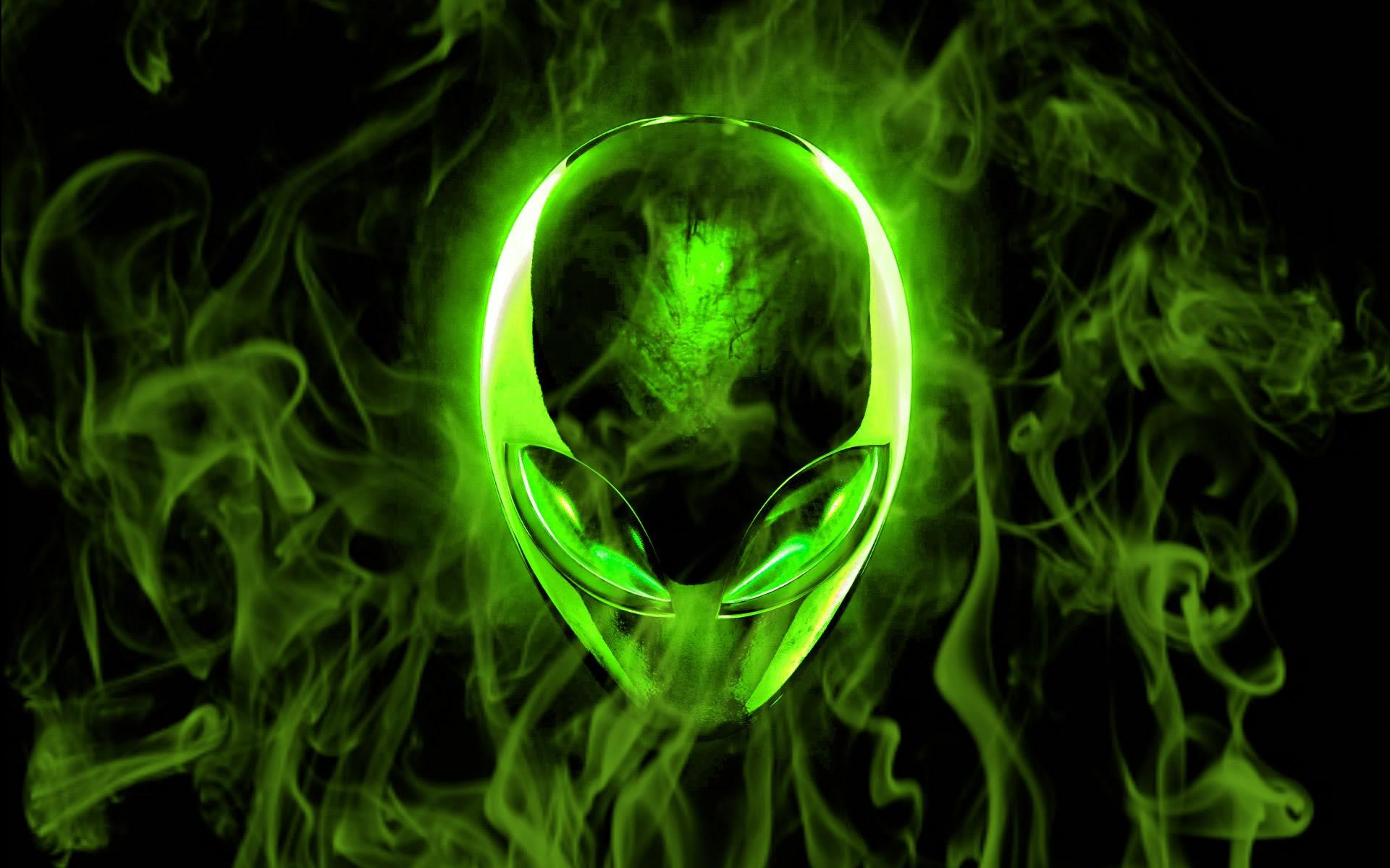 Green Alien and Smoke Computer Wallpapers, Desktop Backgrounds