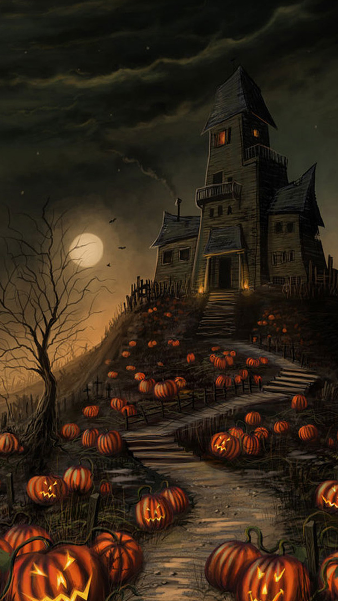 Halloween Haunted House Pumpkin Android Wallpaper free download