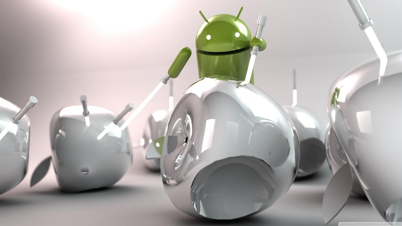 Android vs Apple HD desktop wallpaper : High Definition : Mobile