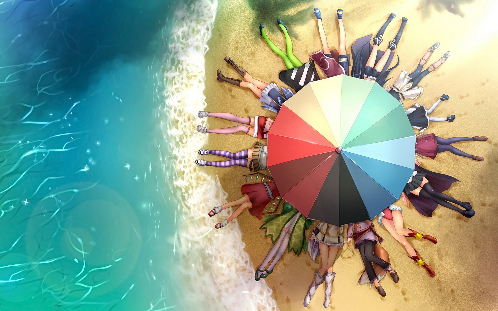 Legs beach seas anime umbrellas soft shading wallpaper | 1920x1200
