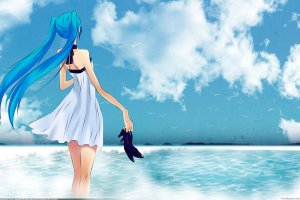 Anime Girls Beach Wallpaper
