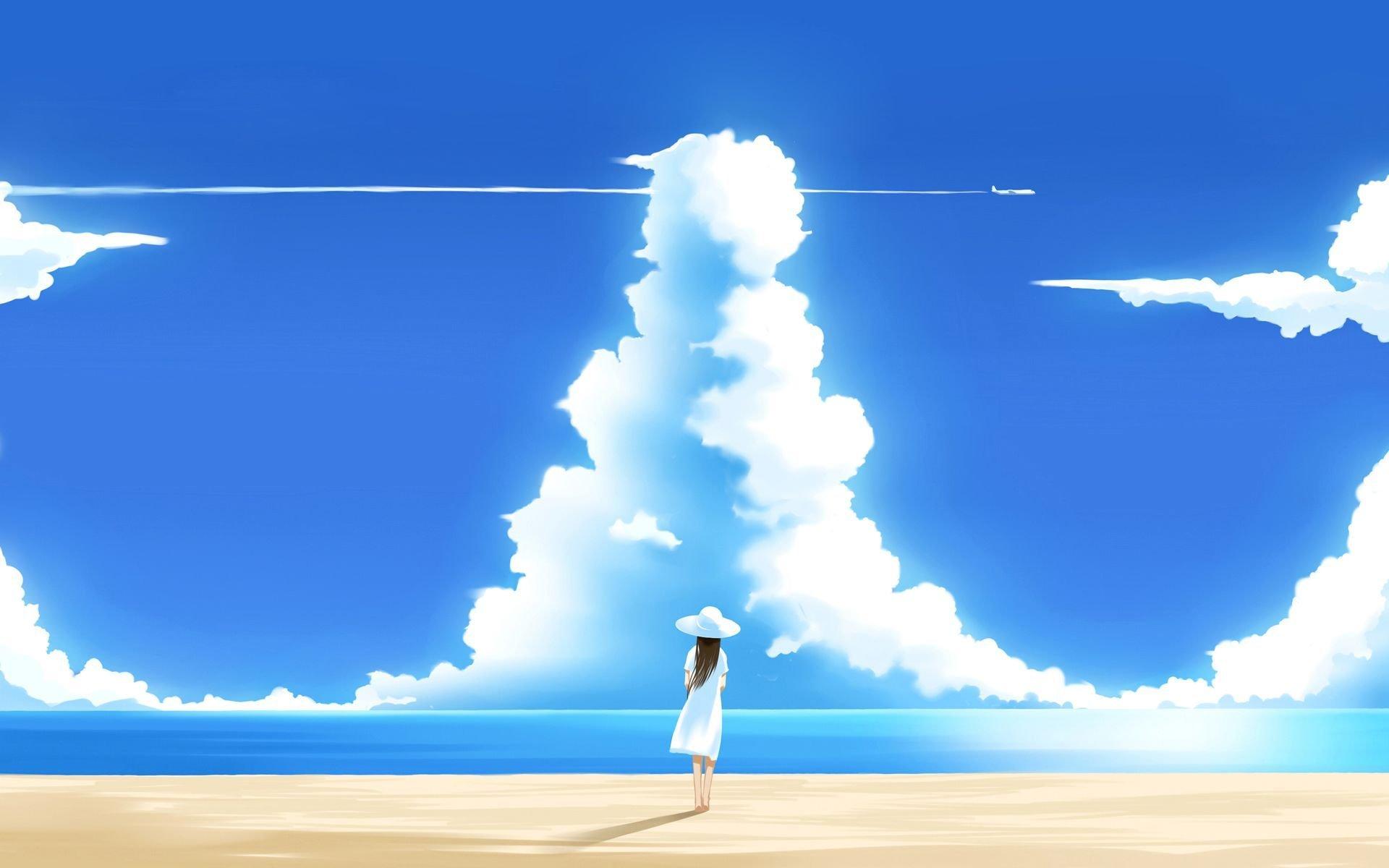 Anime Girl On The Beach Wallpaper