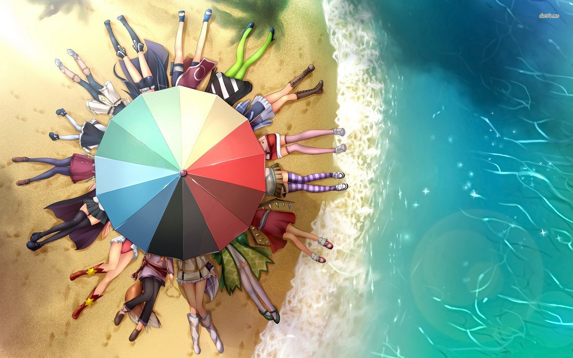 Anime Characters Under The Beach Umbrella Wallpaper