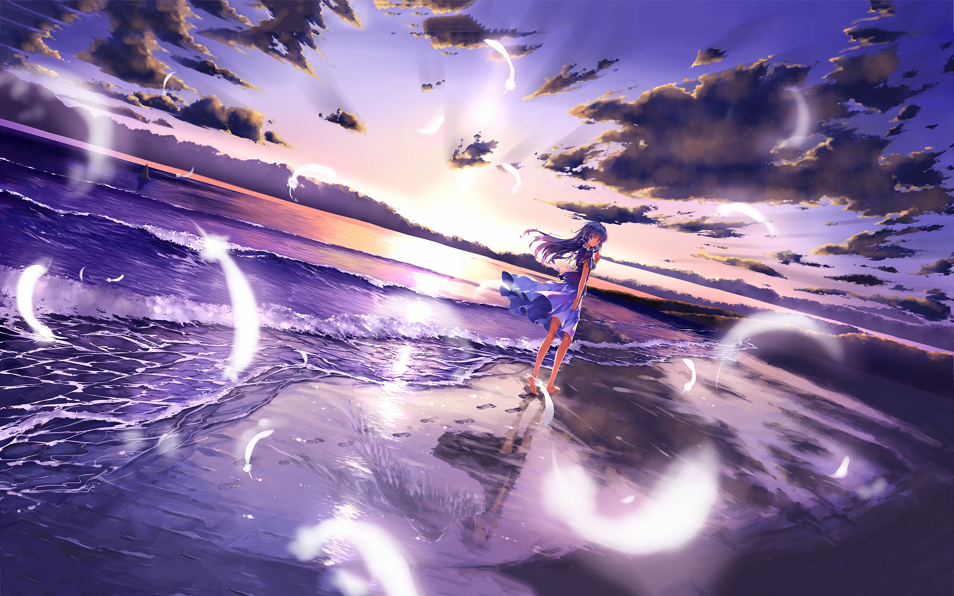 Anime girl beach Wallpapers | Pictures