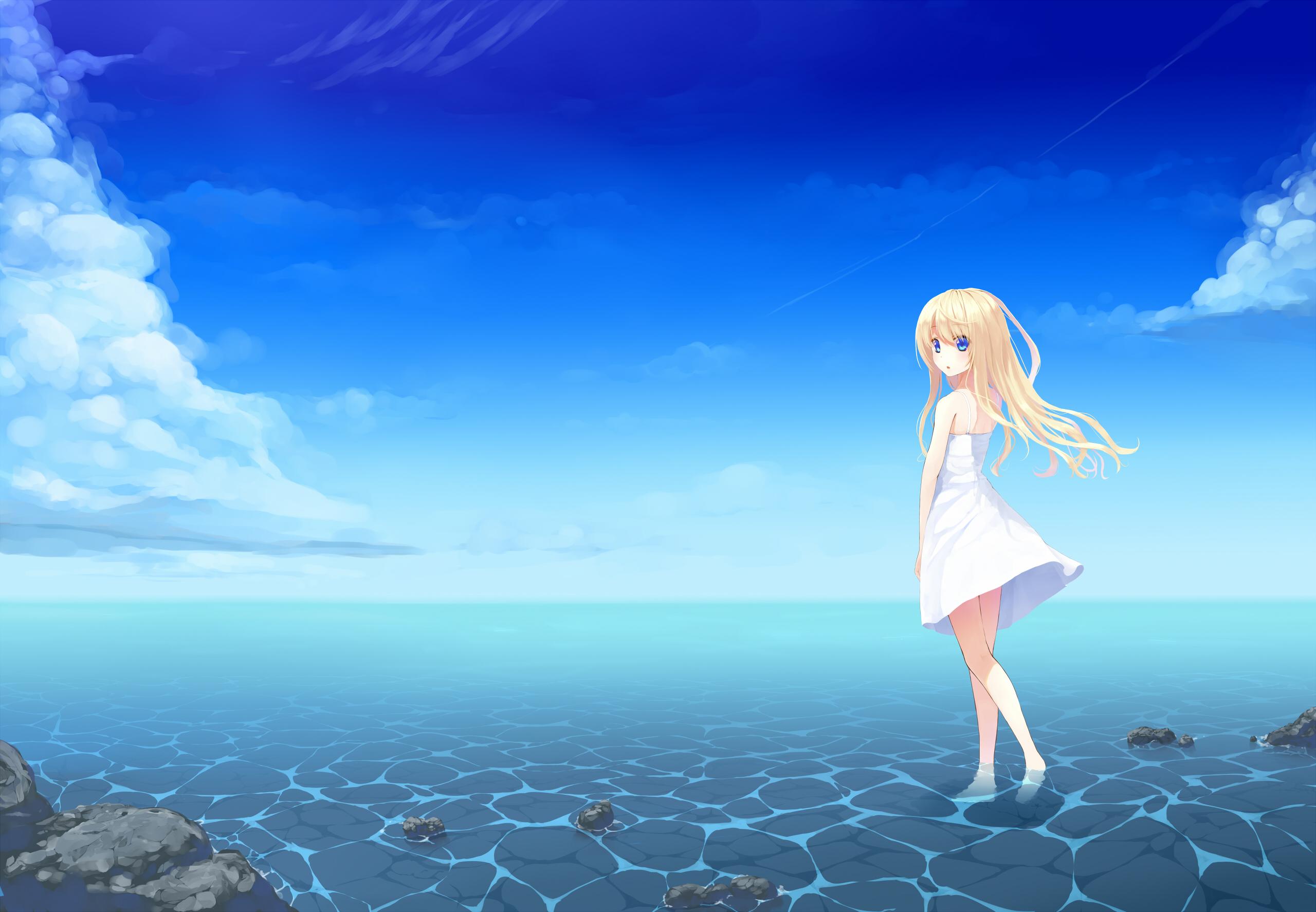 Wallpaper Girl, Anime, Sea, Beach, Dress HD, Picture, Image