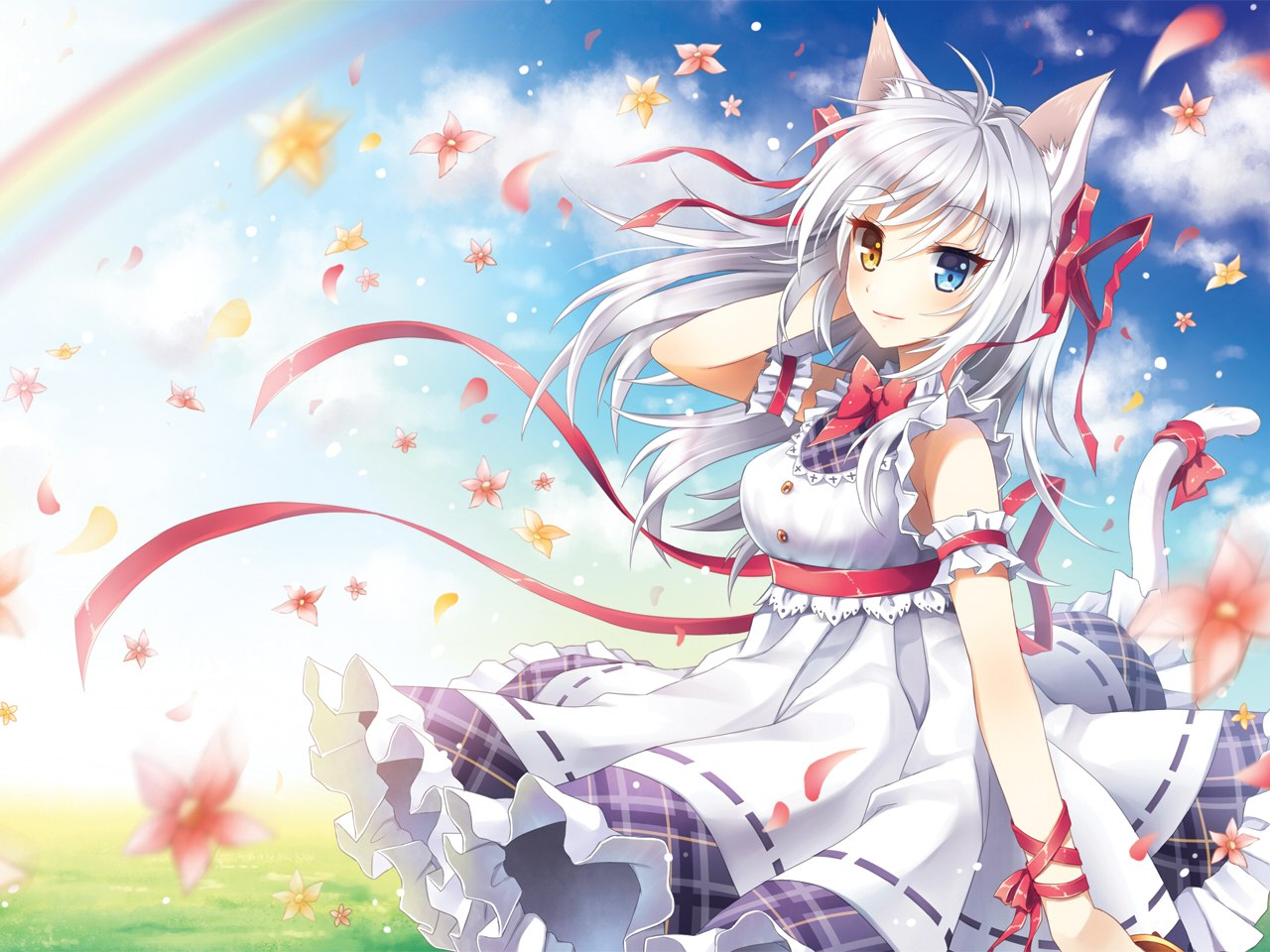 Anime Cat Girl with White Hair Wallpaper | Stuff to Buy