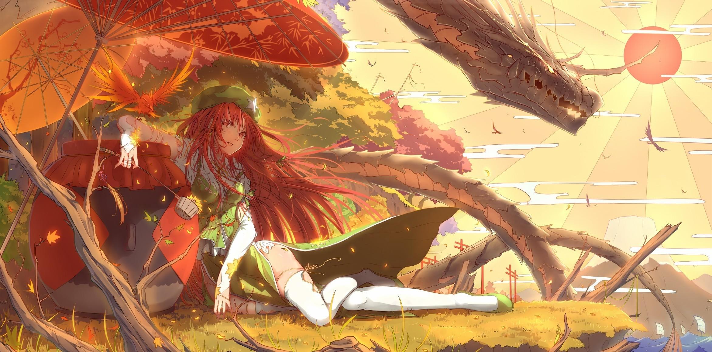 anime Girls, Anime, Touhou, Hong Meiling, Dragon Wallpapers HD