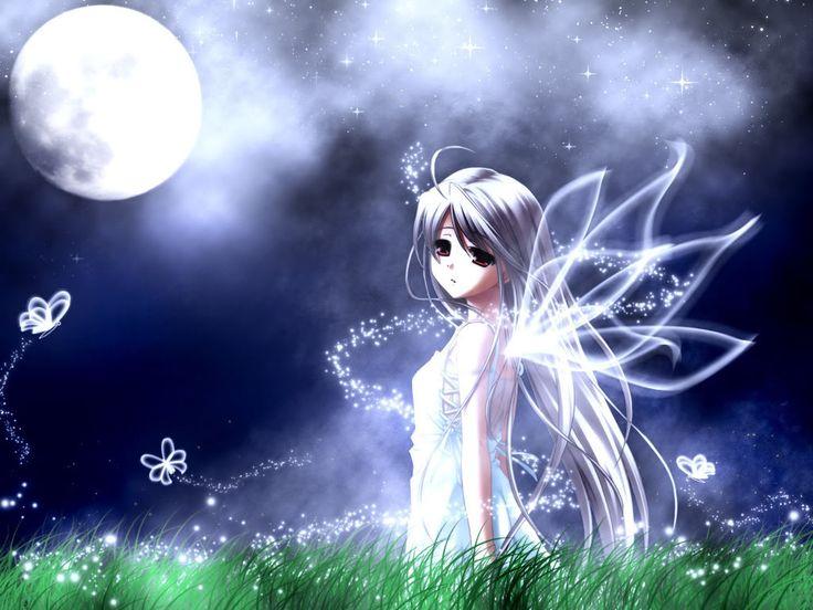 animegirlwallpaper blue butterfly anime fairy girl wallpaper