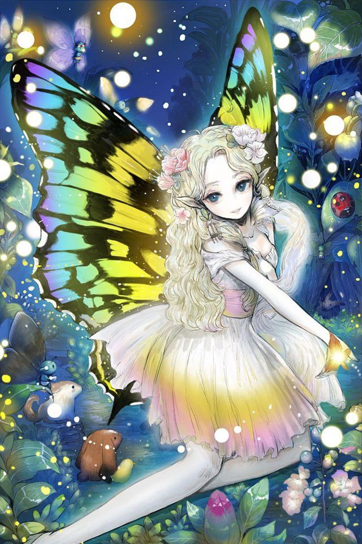 Anime girl cute beautiful long hair dress flower wings fairy