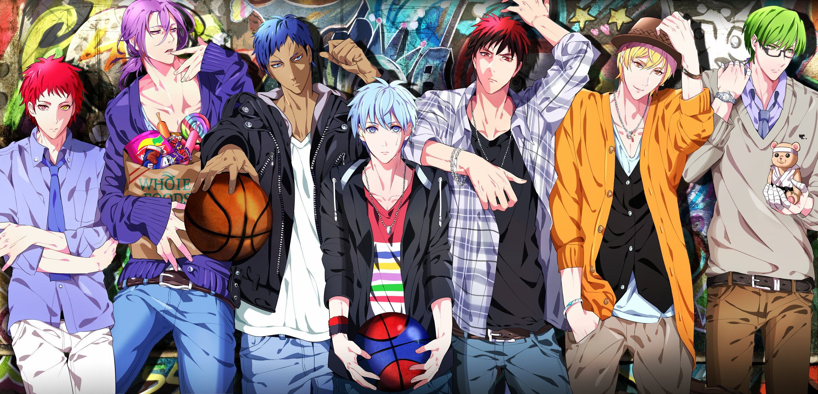 Anime series kurukono basket group boys cool blue hair boll blond
