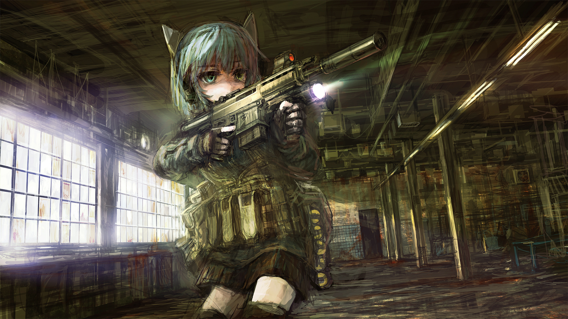 Anime Girl With Gun wallpaper | anime and game art | Pinterest