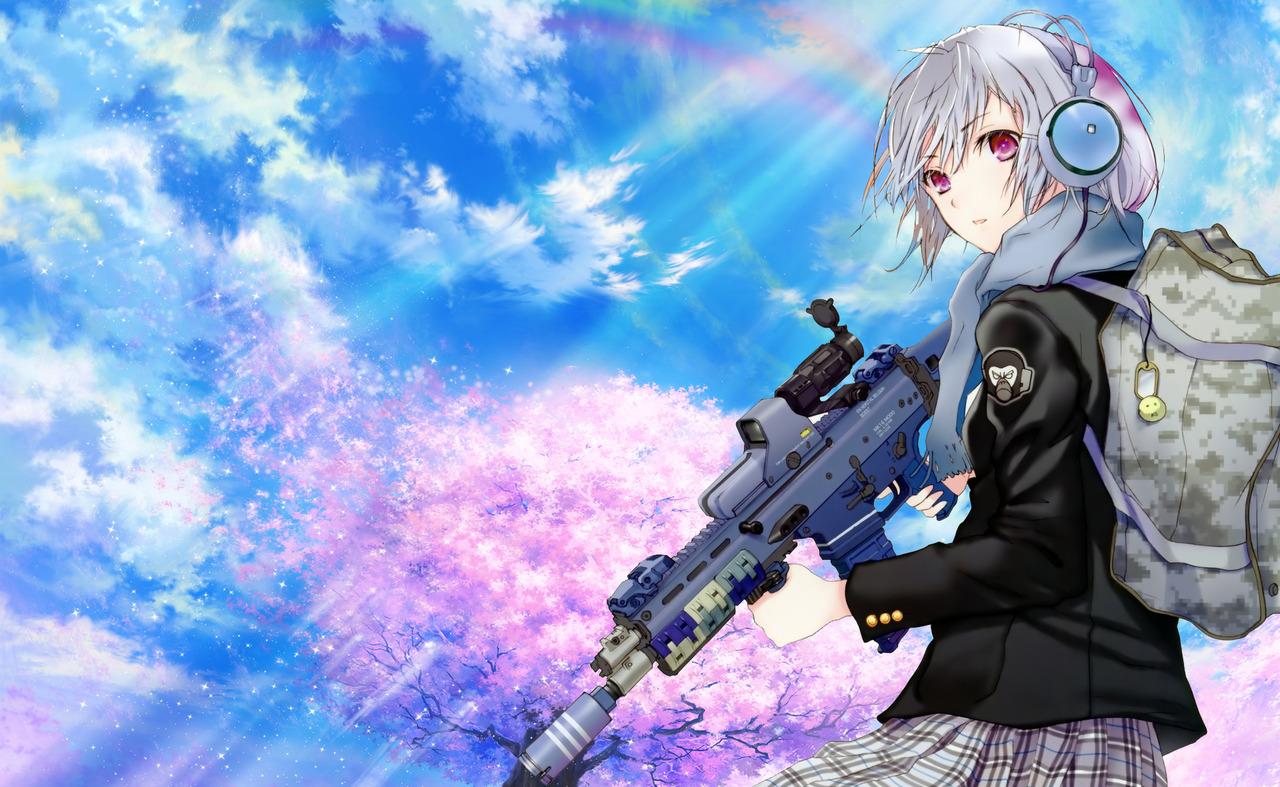 Anime-Girl-with-Gun-and-Headphone-Wallpaper jpg (1280×787) | Anime
