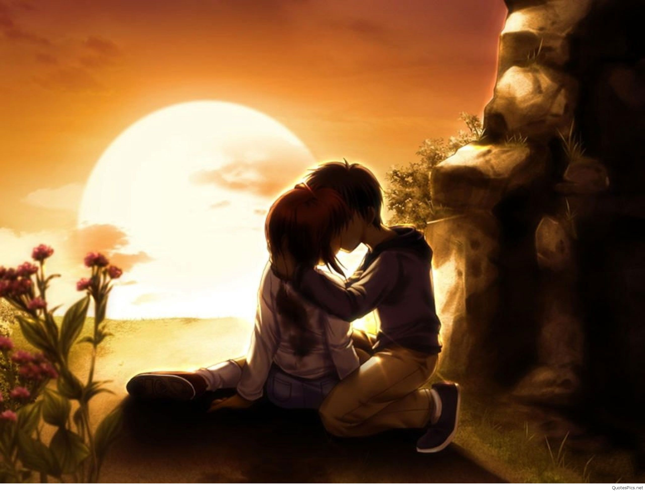 Anime love couple wallpapers pics hd