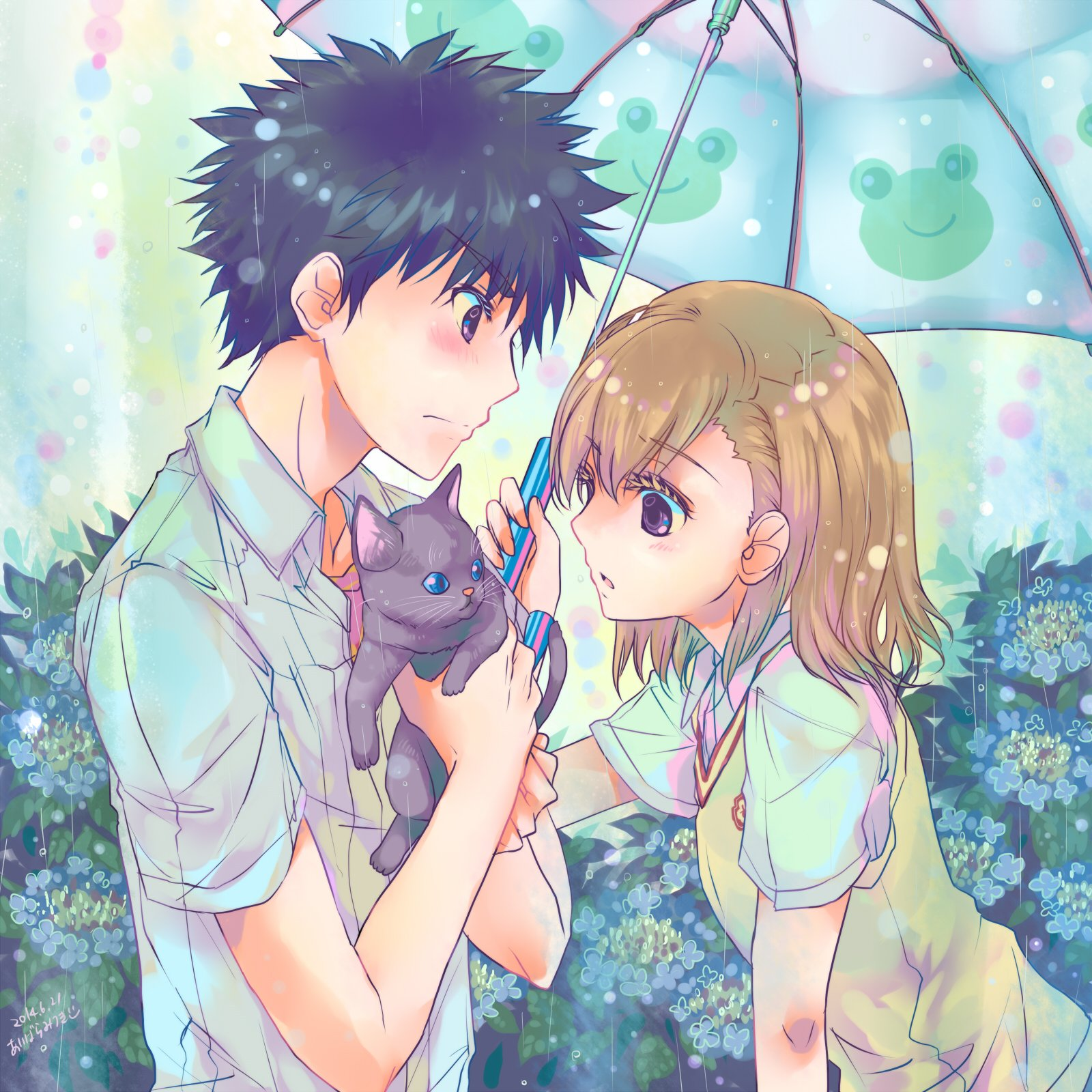 Umbrella anime couple cat cute girl boy rain love wallpaper