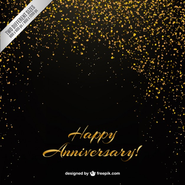 Golden confetti anniversary background Vector | Premium Download