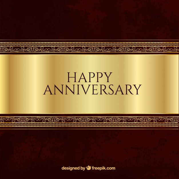 Ornamental happy anniversary background in antique style Vector