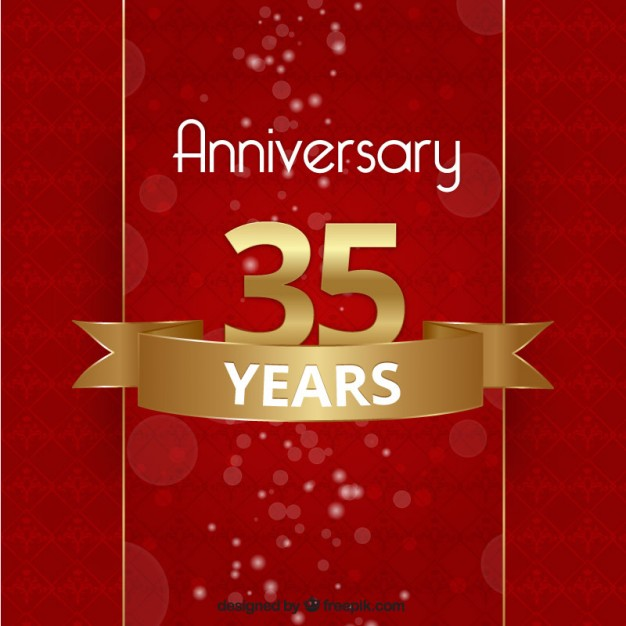Anniversary background in red and golden color Vector | Free Download