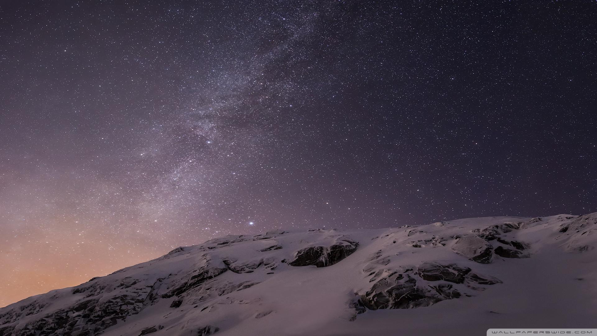 Apple iOS Mountains and Galaxy HD desktop wallpaper : Widescreen