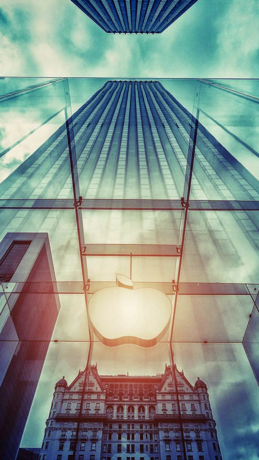 Apple Store NYC Window Reflection iPhone 6 Wallpaper Download