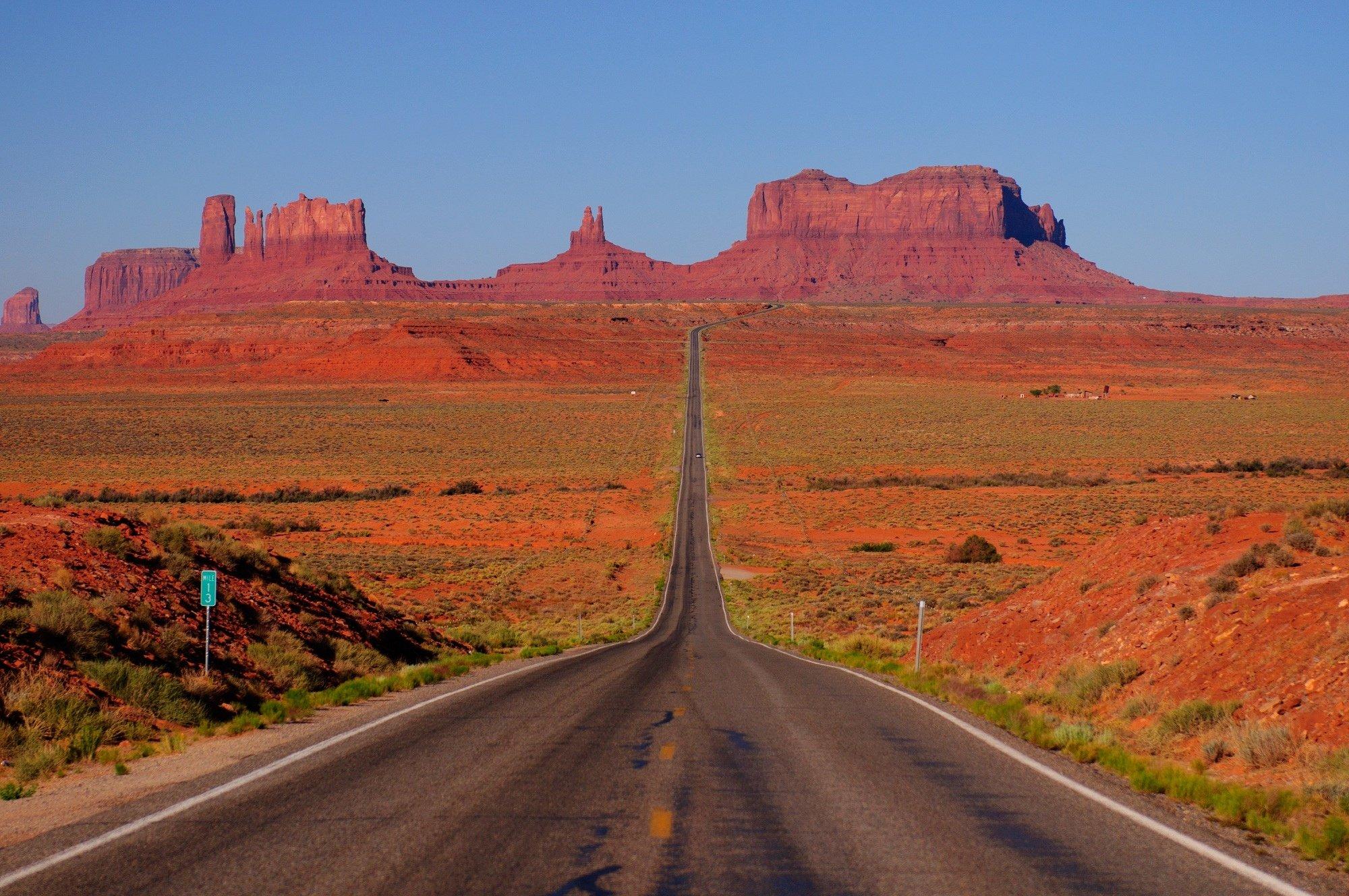 Mountains road desert Arizona USA Utah Monument Valley Monument