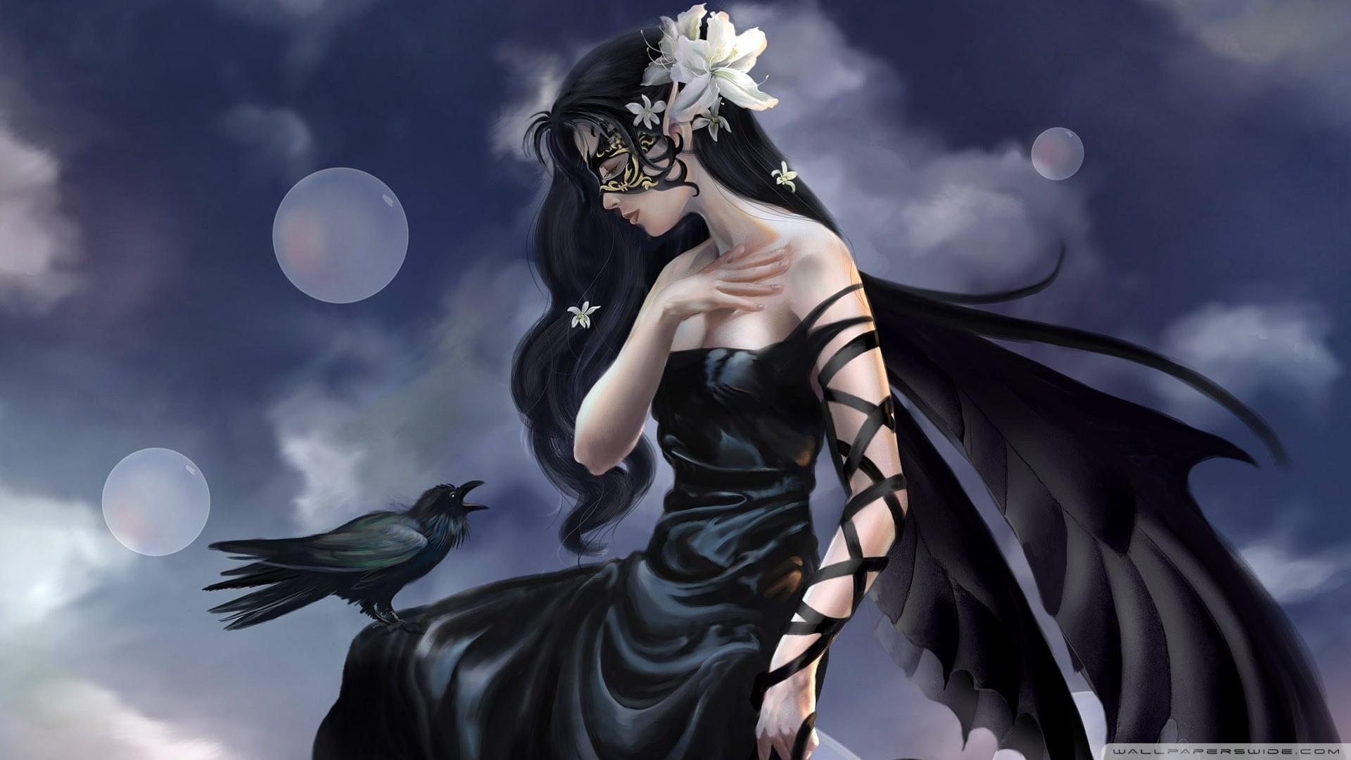 Raven Girl, Art HD desktop wallpaper : High Definition