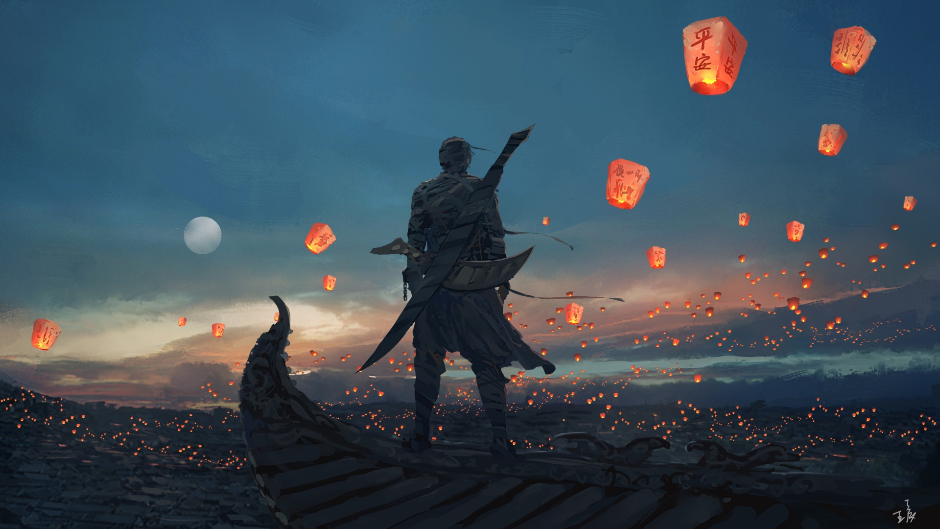 1920x1080 Sky lantern art Wallpaper