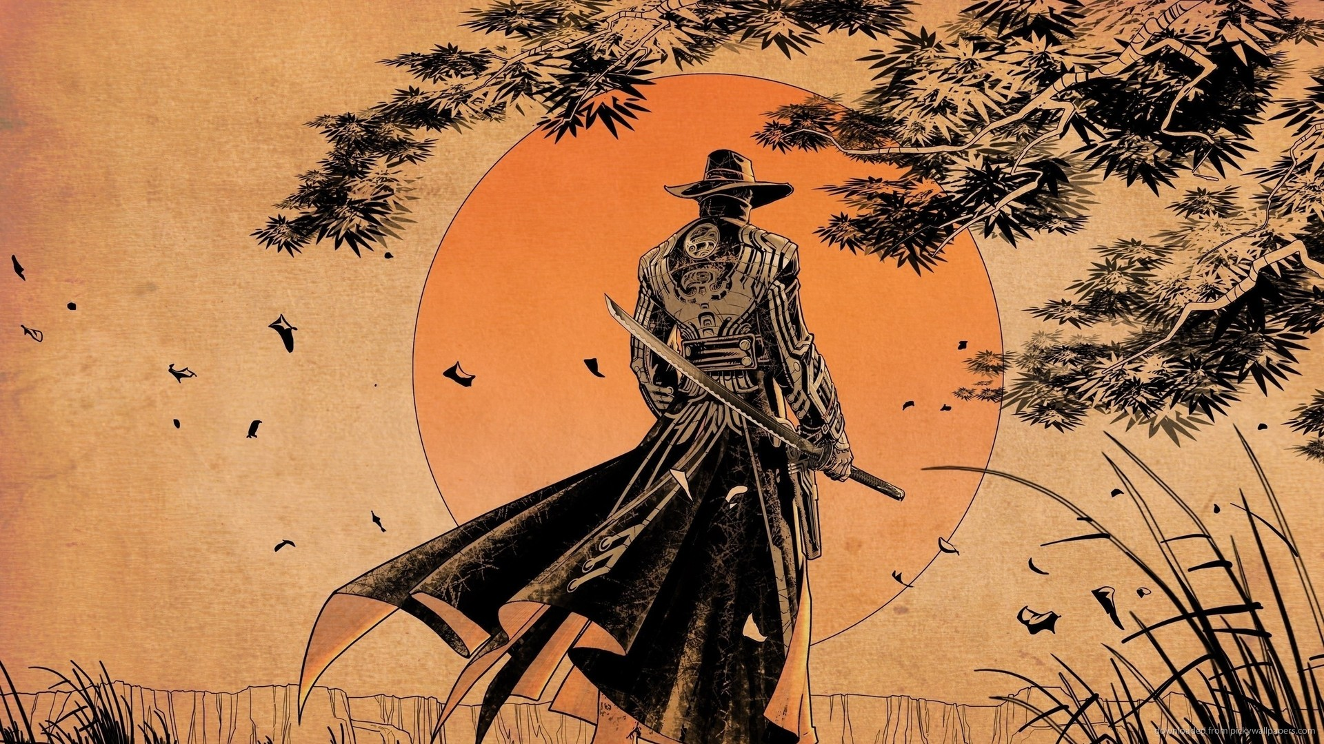 Download 1920x1080 Samurai Sunset Art Wallpaper