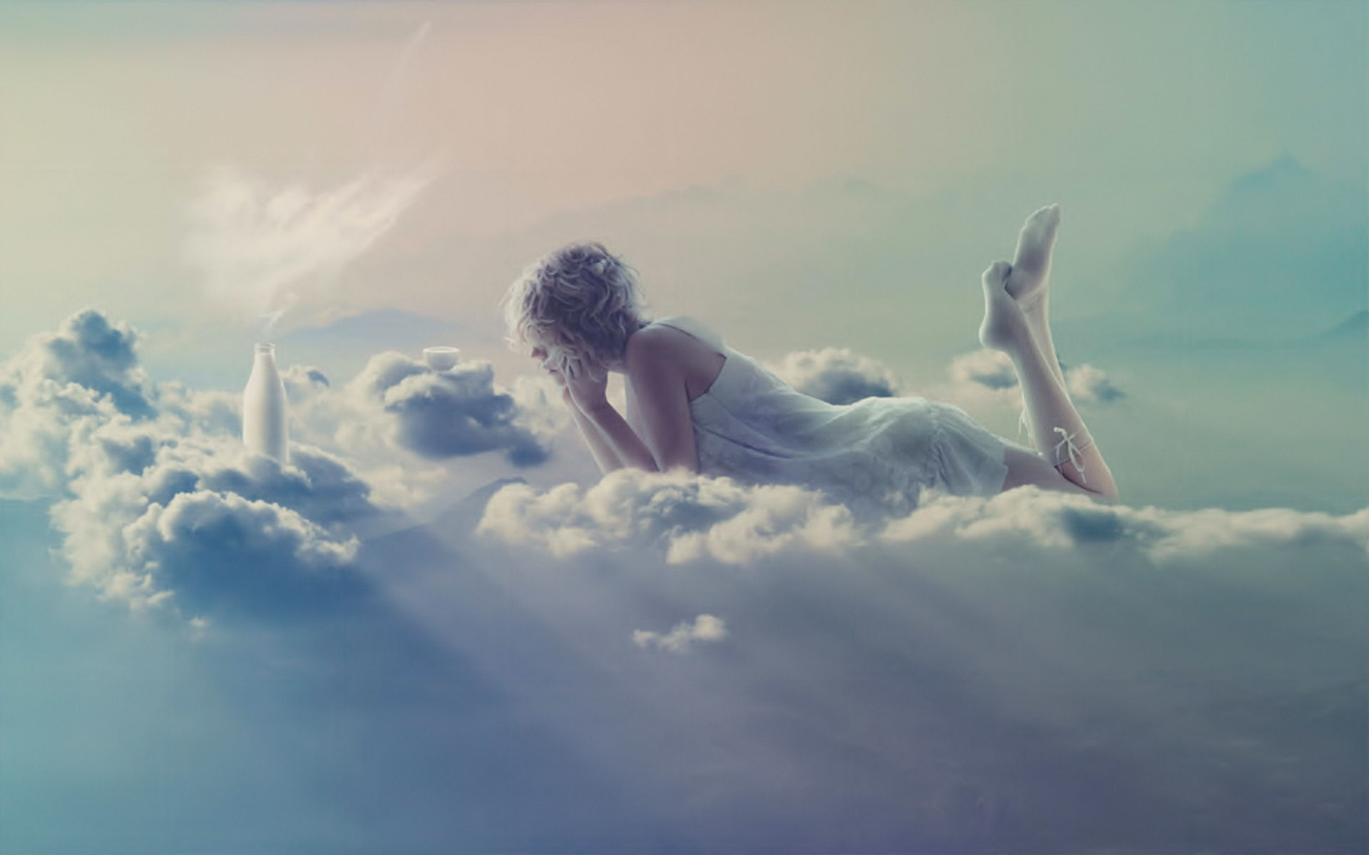 Cloud Girl Artistic Wallpaper Free Download Of Art Wallpaper