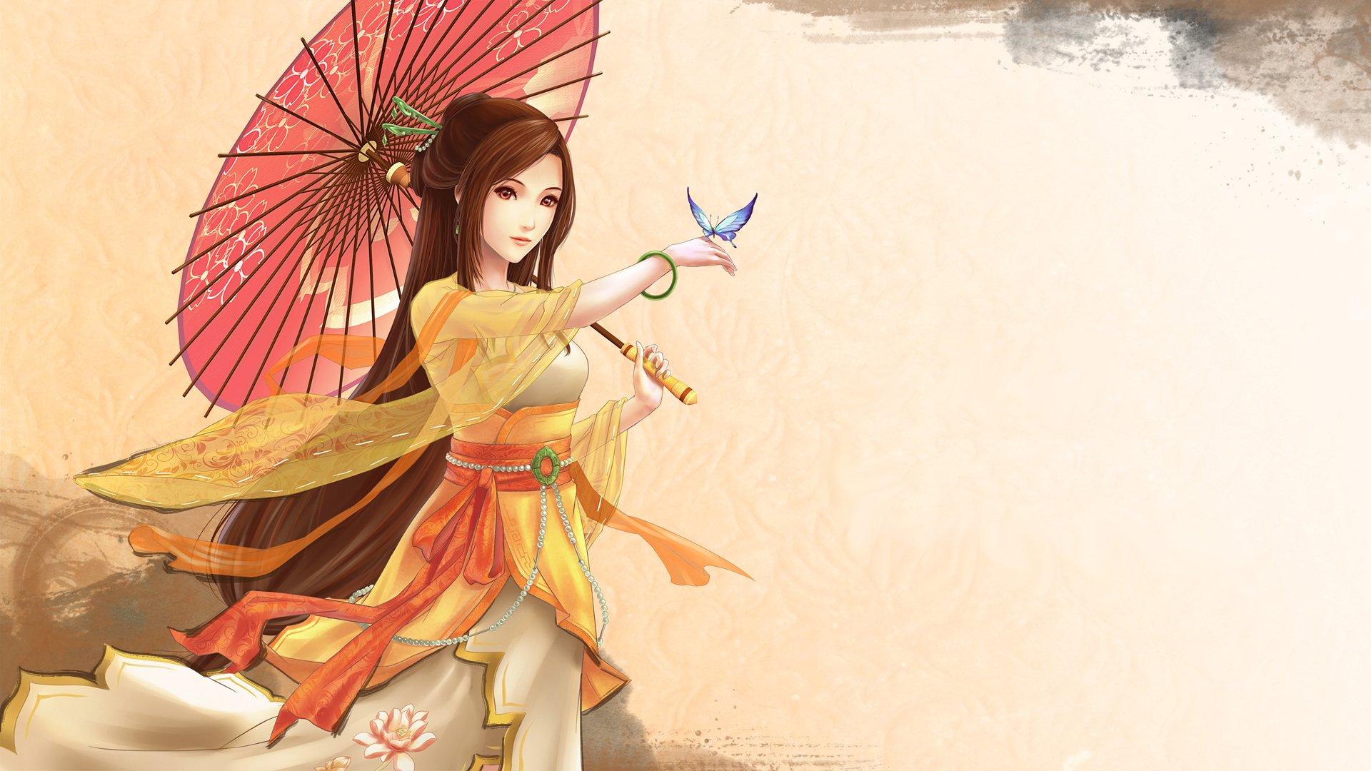Anime Girl Brown Hair Wallpaper