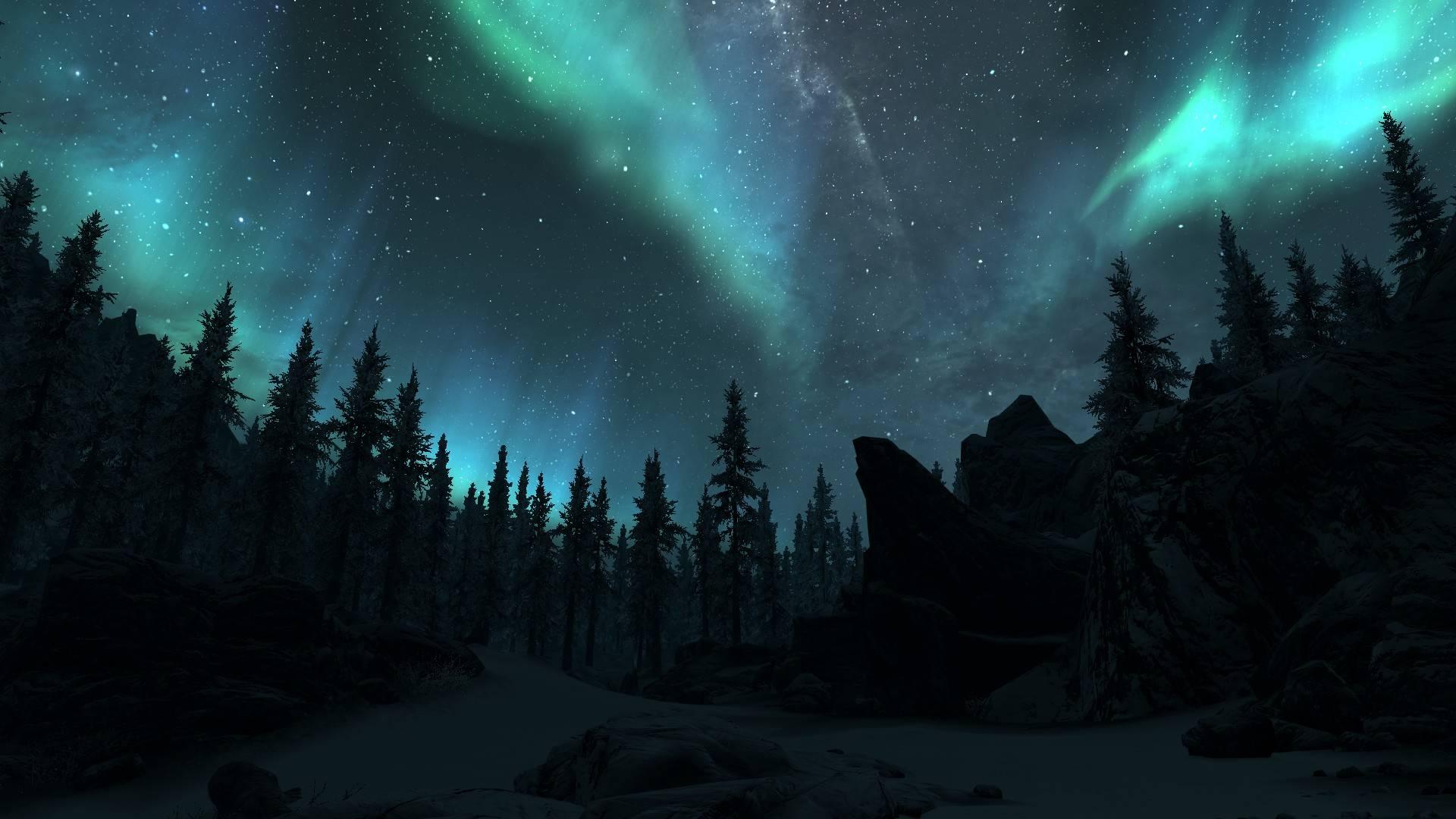 Blue Aurora Borealis - wallpaper