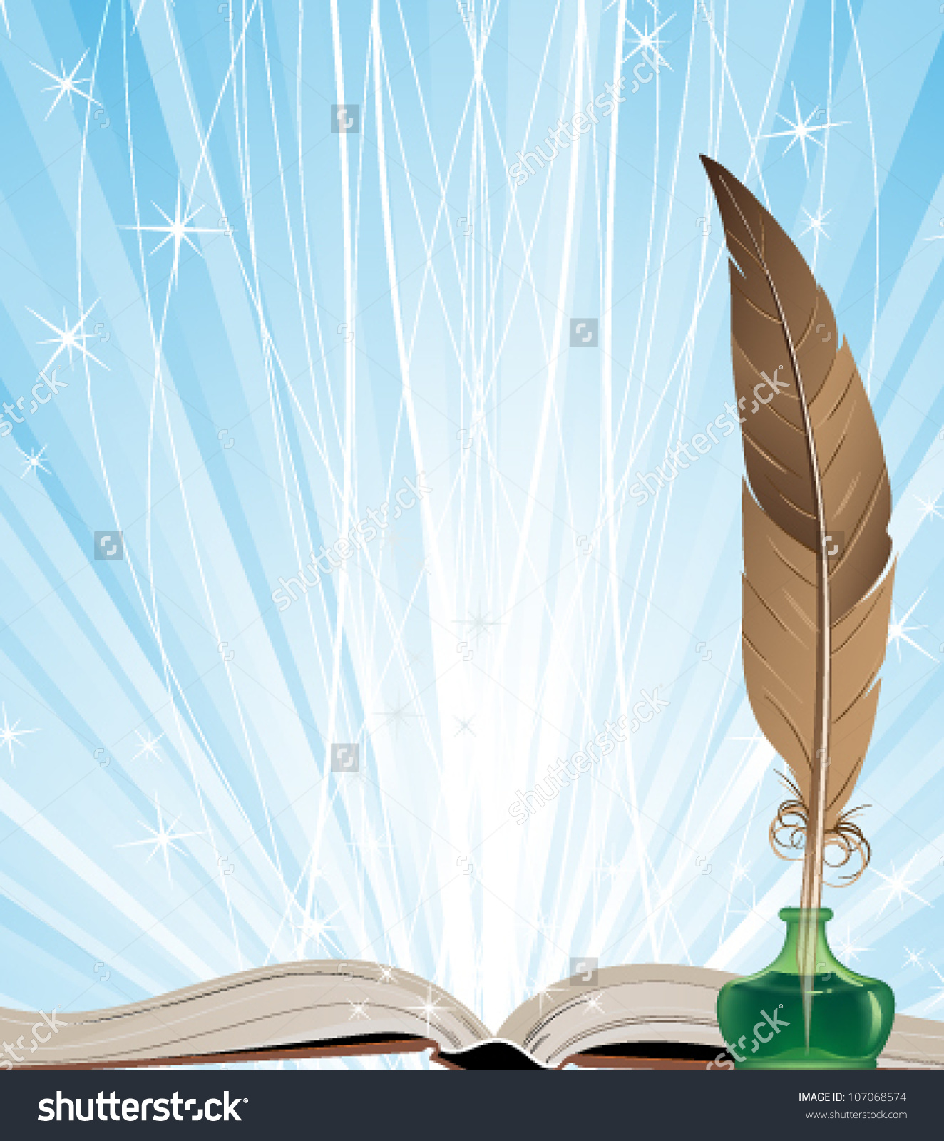 Open Book Ink Feather On Blue Stock Vector 107068574 - Shutterstock