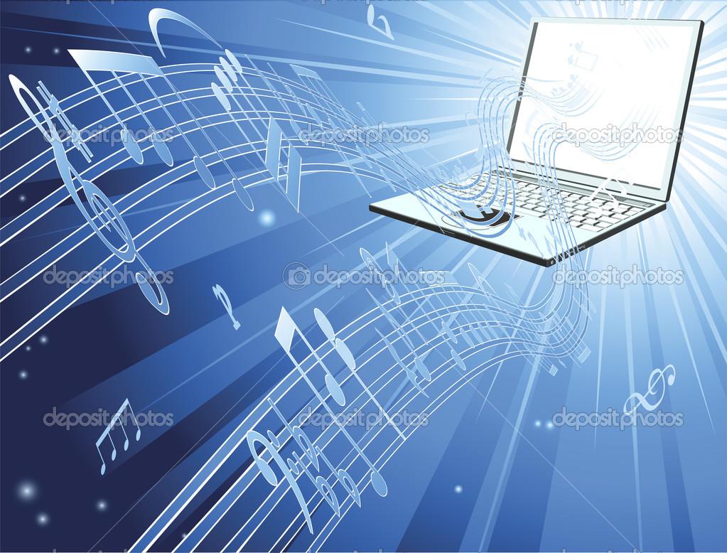 Laptop computer music background — Stock Vector © Krisdog #6579209