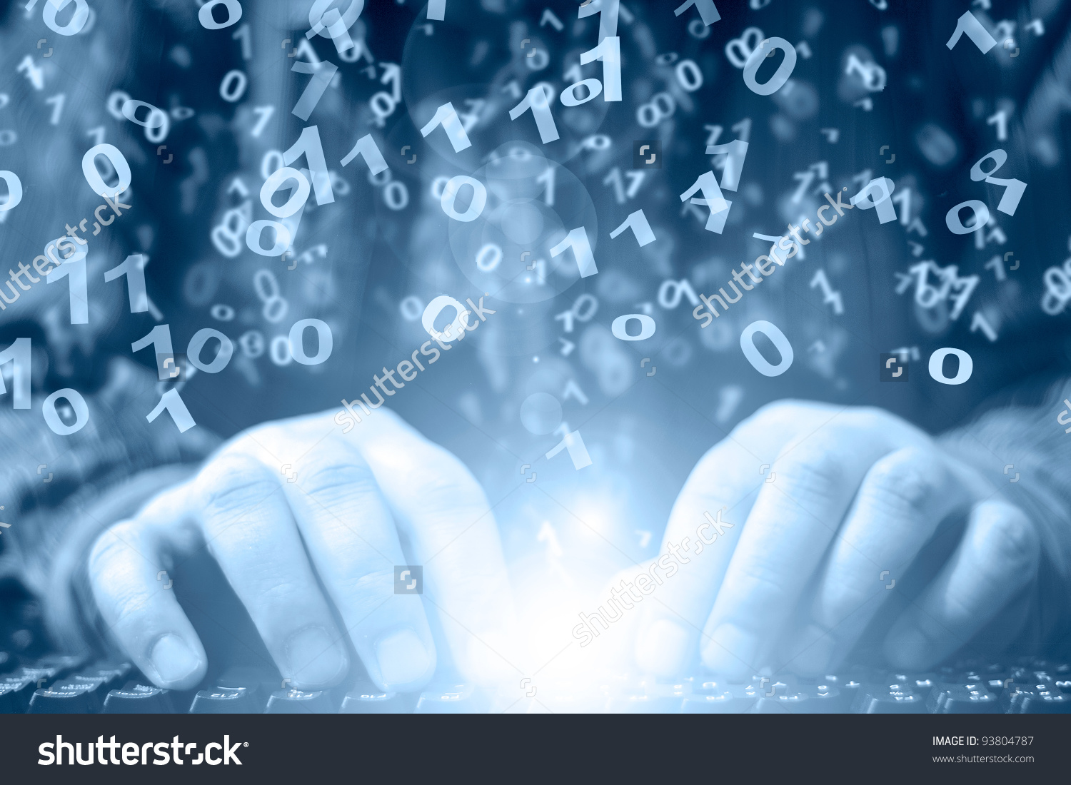 Hands On Keyboard Abstract Computer Background Stock Photo
