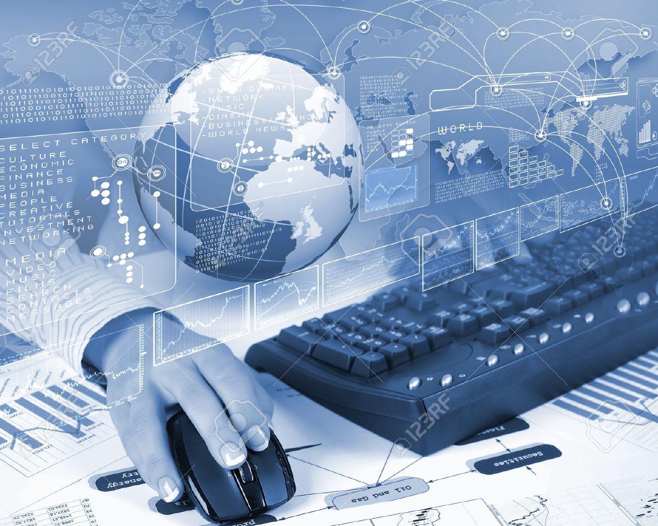 Blue Globe On The Digital Technology Background Stock Photo