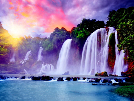 Waterfall under the colorful sky - Waterfalls & Nature Background