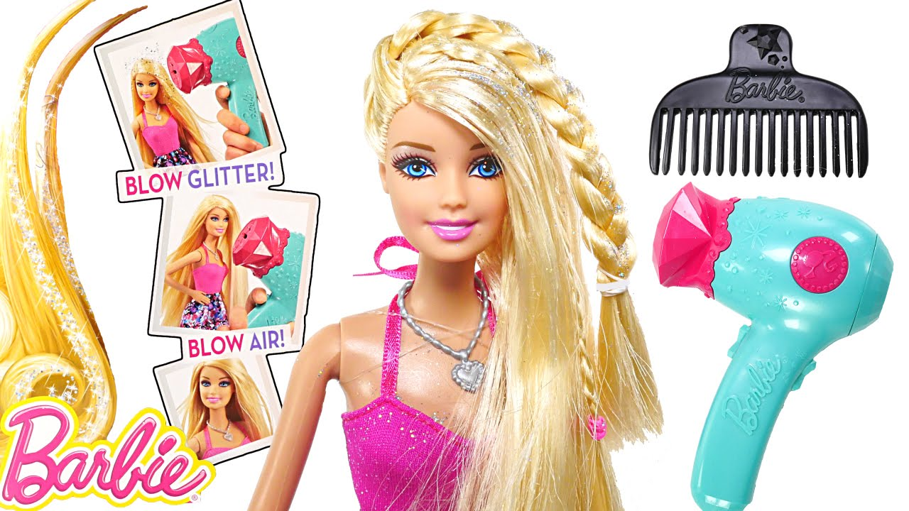 Barbie Glitter Blow Dryer BARBIE Doll Hair-Tastic Styling Playset
