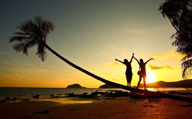 Beach Girl Sunset Wallpaper