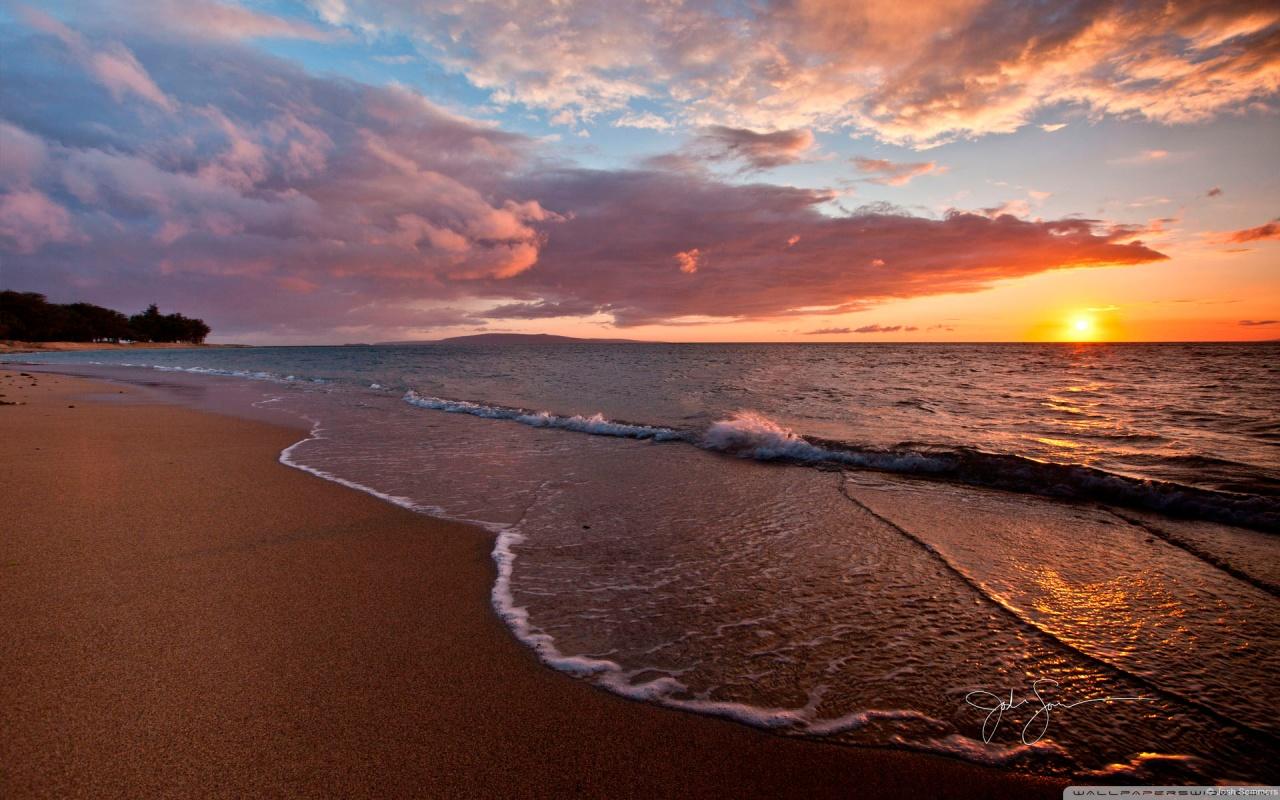 Beach - Sunset HD desktop wallpaper : High Definition : Fullscreen