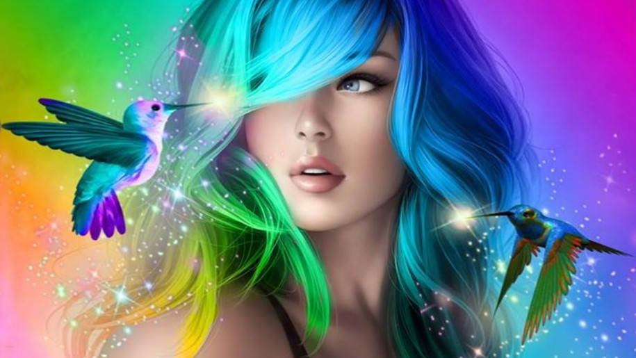 Beautiful Girl With Colorful Hair Desktop Wallpaper Hd For Mobile