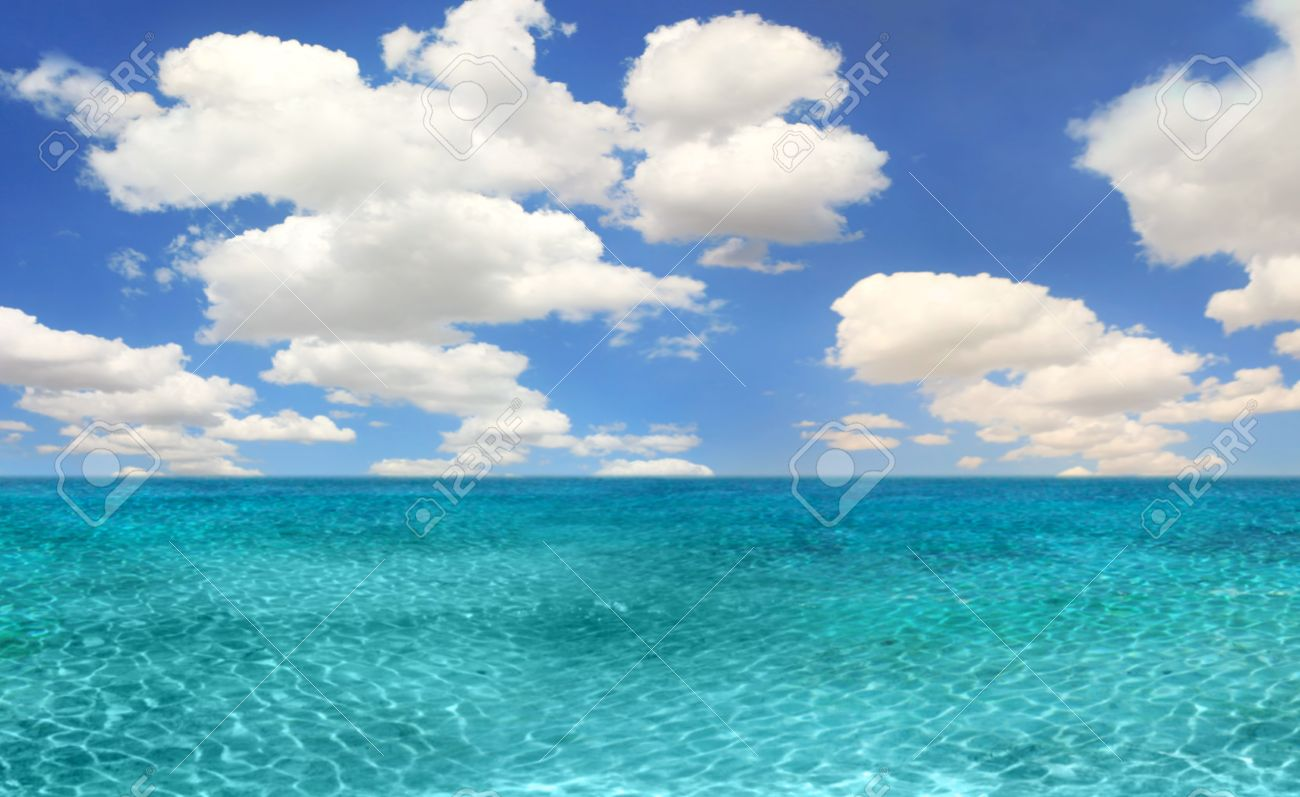 Beautiful Ocean Beach Scene On A Bright Day Stock Photo, Picture