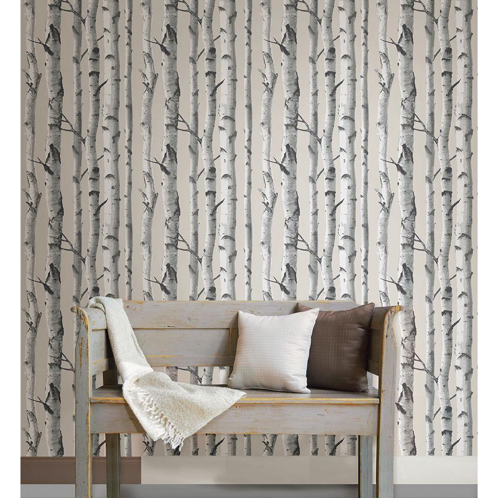 NuWallpaper Multi Color Birch Tree Wallpaper-NU1650 - The Home Depot