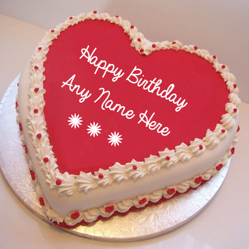 Write Girlfriend Name On Pink Heart Birthday Wishes Cake Image Src
